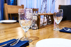Serving dinner table in restaurant Stock Photo