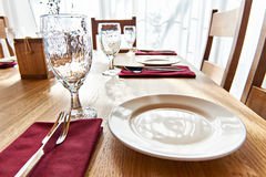 Serving dinner table in restaurant Royalty Free Stock Image