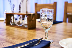 Serving dinner table in restaurant Royalty Free Stock Images
