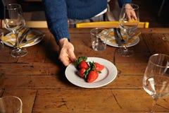 Serving dinner table set Stock Image