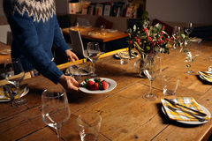 Serving dinner table set Royalty Free Stock Photos