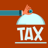 Serving dish with lid in hand. On the plate is tax. Time to pay taxes. Tax system vector illustration