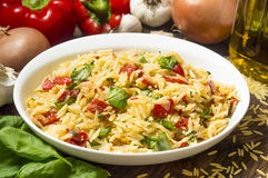 Serving dish with orzo and roasted red peppers. Ready to eat surounded by fresh ingredients royalty free stock photos