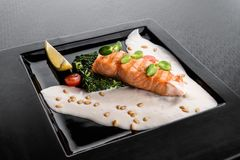 Serving a dish Salmon fillet in a creamy sauce with spinach, lemon and sprouts of soy on a black plate. On a dark background. close up. isolated royalty free stock images