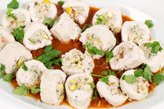Serving dish of stuffed chicken breasts Stock Images