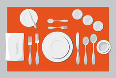 Serving dishes and cutlery Royalty Free Stock Photography
