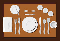 Serving dishes and cutlery Royalty Free Stock Image