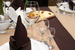 Serving dishes on the table in the restaurant Stock Image