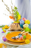 Serving Easter table cake eggs Stock Photo