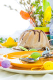 Serving Easter table cake eggs Royalty Free Stock Image