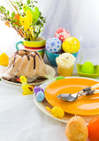 Serving Easter table cake eggs Royalty Free Stock Photos