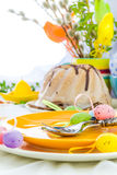 Serving Easter table cake eggs Royalty Free Stock Photo