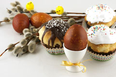 Serving Easter table with tasty dishes Royalty Free Stock Image
