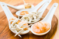 Serving of eel and shrimp Royalty Free Stock Image