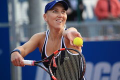 Serving Elena Vesnina - J&T Banka Prague Open 2015 Royalty Free Stock Photos