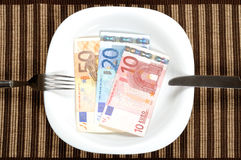 Serving euro banknotes Royalty Free Stock Photos