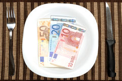 Serving euro banknotes Stock Photo