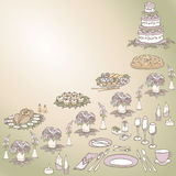 Serving a festiv eight   color. Asymmetric composition table setting on a holiday, cake, food, flowers, candles, lavender, green, white and beige Royalty Free Stock Photos