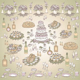 Serving a festiv seven color. Set of sketches for the menus, tableware, cake, food, pizza, sushi, chicken and sandwiches, flowers, candles and gifts for the Royalty Free Stock Photography