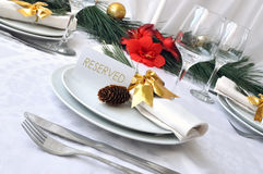 Serving a festive Christmas table Royalty Free Stock Photography
