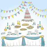 Serving a festive first color blue. Invitation for an anniversary, wedding, birthday, the menu on the holiday table serving, cake, cloth, food, drinks, candles Stock Images