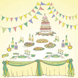 Serving a festive first color green yellow. Flowers, box, cake wedding, anniversary, birthday, alcohol, menus, check boxes, color, bright, green, yellow Stock Photo