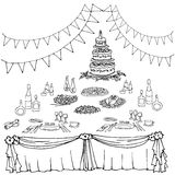 Serving a festive first. Set of painted items for the table in celebration, cloth, gifts, food, cutlery, cake for a wedding or birthday Stock Images