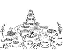Serving a festive four. A set of sketch invitation for an anniversary, a birthday, a menu on the holiday table serving, cake, cloth, food, drinks, candles, form Stock Photo