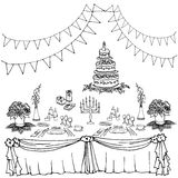 Serving a festive second. Set of painted items for the table in celebration, tablecloth, gifts, food, cutlery Royalty Free Stock Photo