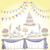 Serving a festive second violet yellow. Set of painted items for the table in celebration, tablecloth, gifts, food, cutlery,flowers, boxes, cake for a wedding or Royalty Free Stock Photography
