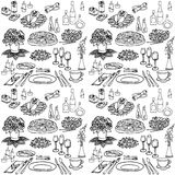 Serving a festive six seamless. Set sketch for a celebratory meal at a restaurant, accommodation, food, meals, drinks, flowers, gifts, cutlery, seamless black in Royalty Free Stock Images