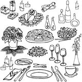 Serving a festive six. Set outline for serving festive table in the restaurant, holiday, food, meals, drinks, flowers, gifts, cutlery, black and white Stock Photos