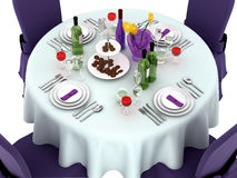 Serving a festive table in purple color. Royalty Free Stock Image