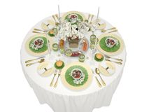 Serving of a festive table on a white background. 3d illustration Stock Photo