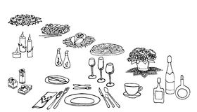 Serving a festive three. Set of painted items for menu,  table in celebration, flowers, drinks, food, gifts, food, cutlery Royalty Free Stock Photography