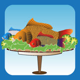 Serving fish. Colorful background with fresh fish on a plate decorated with green salad and fresh lemon slices Stock Photography