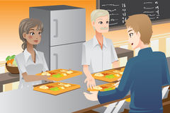 Serving food. A vector illustration of food servers serving food to customers Stock Photo
