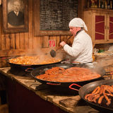 Serving food in the Budapest Christmas market Royalty Free Stock Photos