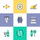 Serving food pictogram icons set Royalty Free Stock Photo