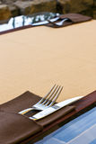 Serving fork knife. Restaurant table Stock Image
