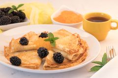 Serving French Crepes with fresh berries and honey on the plate. Close up stock photography