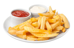 Serving french fries Royalty Free Stock Images