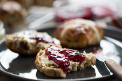 Serving fresh homemade scones stock images