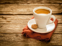 Serving of fresh hot espresso coffee Stock Photo