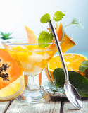 Serving of fresh tropical fruit salad Stock Photography