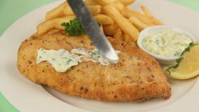 Serving Fried Fish 4 stock footage