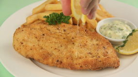 Serving Fried Fish 3 stock video footage
