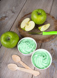 Frozen creamy ice yoghurt  with fresh green apples Stock Photography