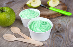 Frozen creamy ice yoghurt  with fresh green apples Royalty Free Stock Images