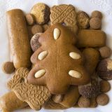 Gingerbread Christmas tree and an assortment of Christmas cookies stock photography